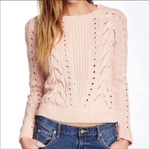 Lucky Brand Sweaters - Baby pink cable knit crew neck sweater
